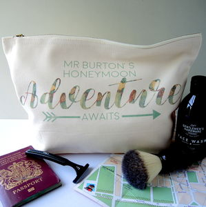 Personalised Groom Honeymoon Toiletry Bag - wash & toiletry bags