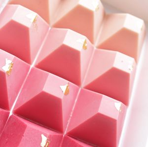 Set Of 12 Pink Ombre Chocolate Pyramids - millennial pink