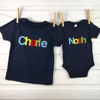 Personalised Multicoloured Baby And Child Set