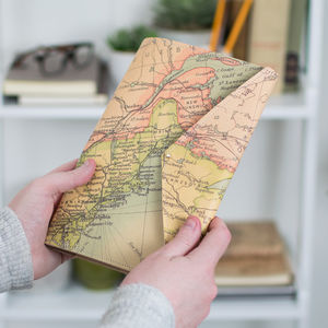 Personalised Map Leather Travel Documents Holder