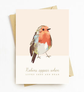 Loved Ones Are Near When Robin's Appear Sympathy Card