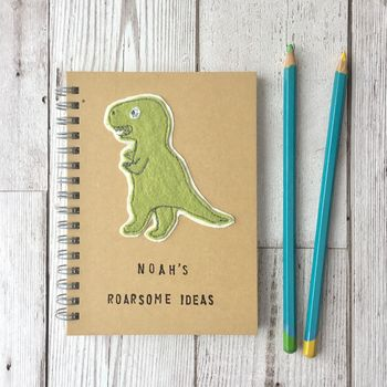 Personalised, Sewn, Dinosaur Roarsome Ideas Notebook