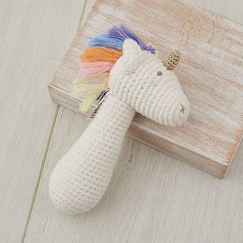 Hand Crochet Rainbow Unicorn Baby Rattle