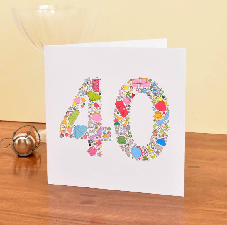 40 Years Old Birthday Card For Mum Sister Female Friends