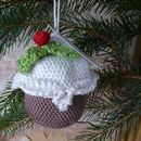 Hand Crocheted Fillable Christmas Pudding Bauble