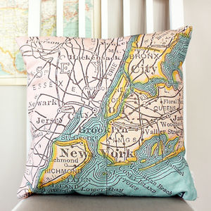 New York Vintage Map Print Cushion - bedroom