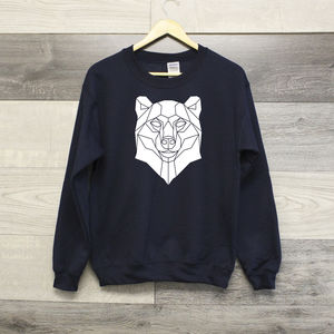 Geometric Bear Graphic Print Sweater - jumpers & cardigans