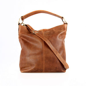 Tan Leather Handbag Hobo Tote - bags