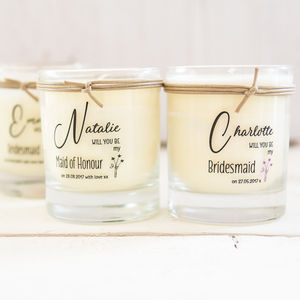 Personalised Will You Be My Bridesmaid Scented Candle - candles & home fragrance