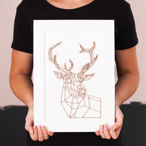 Framed Geometric Stag Head Artwork