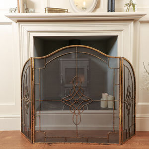 Gresley Three Fold Burnished Gold Fire Guard - living room