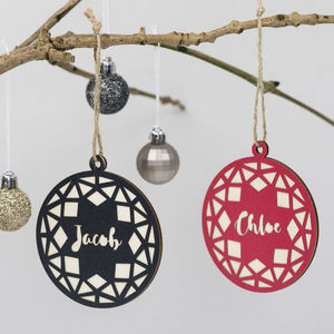 Geometric Circle Christmas Decoration - personalised
