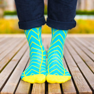 Colourful Blue And Yellow Patterned Socks - men's fashion