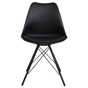 Black Copenhagen Chair With Black Metal Legs