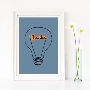 'Thanks' Lightbulb Art Print