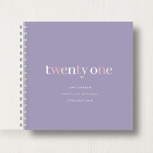 Personalised 21st Birthday Memory Book