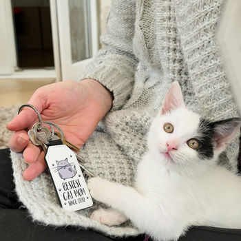 Personalised Cat Mum Faux Leather Keyring