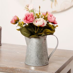 Mini Zinc Pitcher With Articifical Peony - outdoor decorations