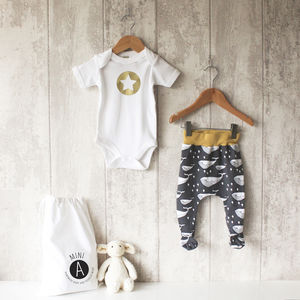 Whale Baby Bodysuit And Footed Leggings Set - babygrows