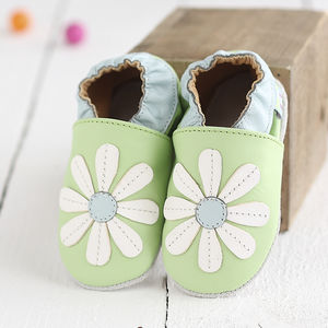 Stitched Daisy Soft Leather Baby Shoes - shoes & footwear