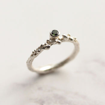 Green Tourmaline Silver Ring