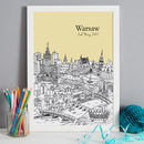 Warsaw illustration in colour 6-sand, font style 2, A3 size framed