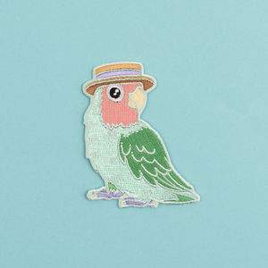 Lovebird In A Boater Iron On Embroidered Patch