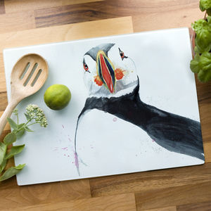 Inky Puffin Glass Worktop Saver