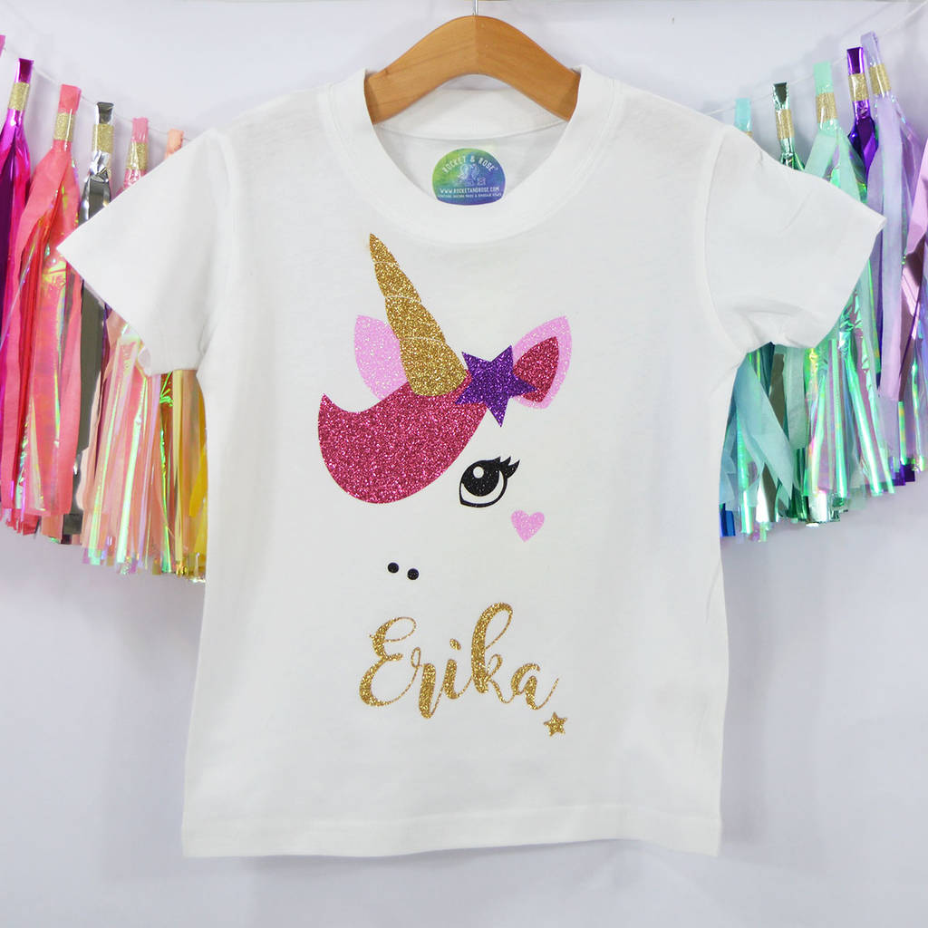 1da3d3f94 star unicorn' sparkly personalised kids t shirt by rocket & rose ...