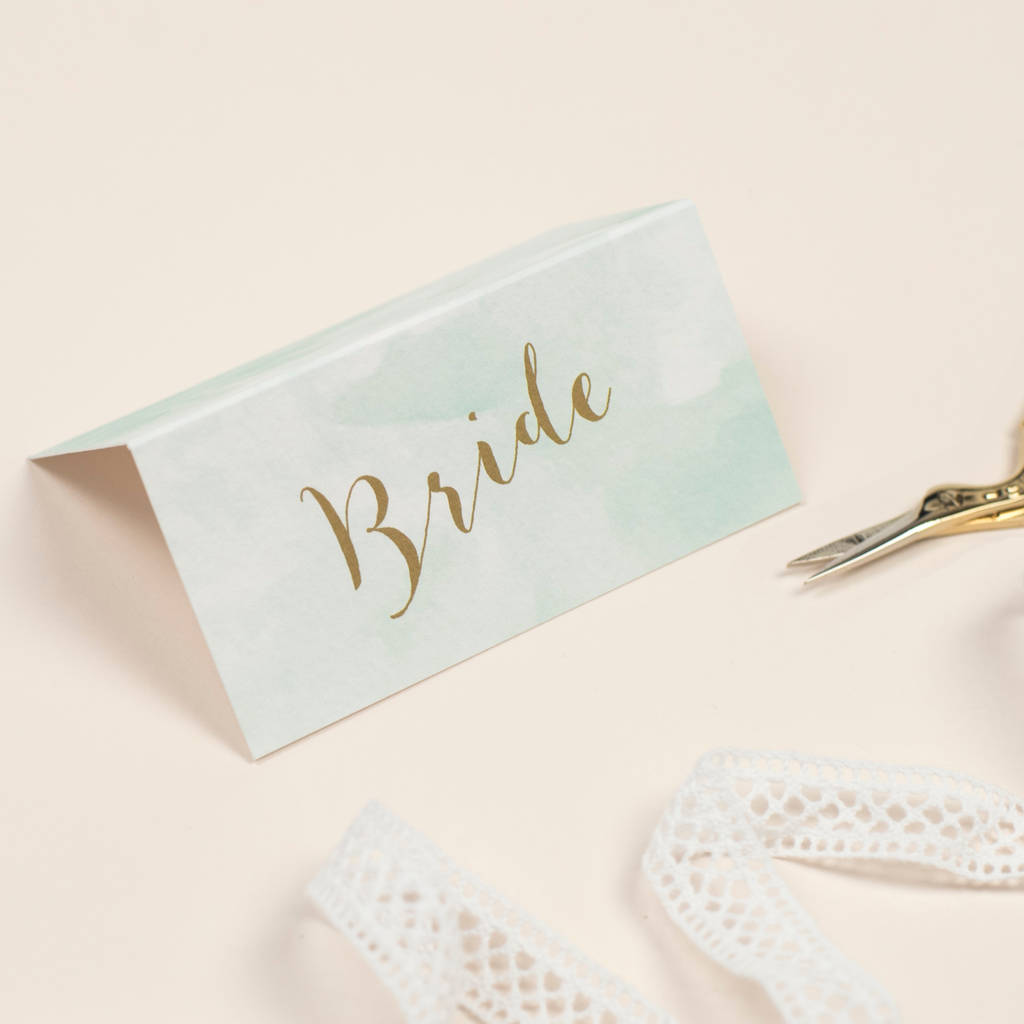 Mint Romance Wedding Place Cards