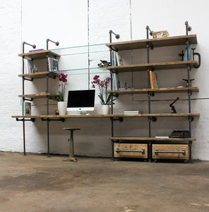Hannah Industrial Desk And Shelves
