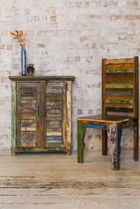 Reclaimed Wood Two Door Shutter Cabinet - furniture