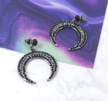 Pave Crystal Crescent Moon Drop Earrings