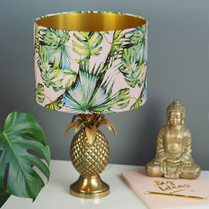 Blush And Green Tropical Print Drum Lampshade