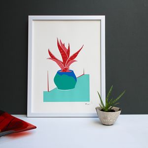Red Potted Aloe Plant Screen Print