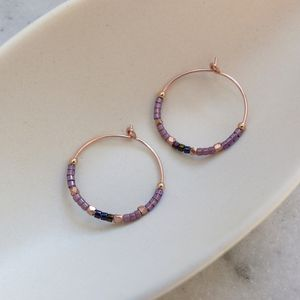 Delica Pattern 20mm Hoops In Purples And Pinks - earrings