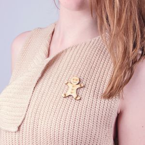 Christmas Gingerbread Man Brooch - jewellery sale
