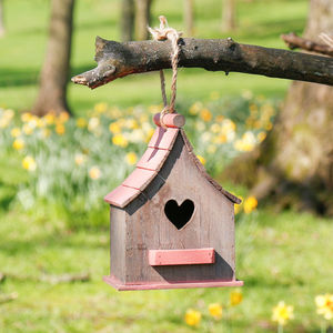 Personalised Red Wooden Heart Birdhouse - bird houses