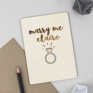 Personalised 'Marry Me' Wooden Card - engagement cards