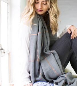 Personalised Grey To Gold Checked Scarf - scarves