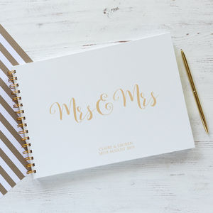 Mrs And Mrs Wedding Guest Book, Memory Book Or Album