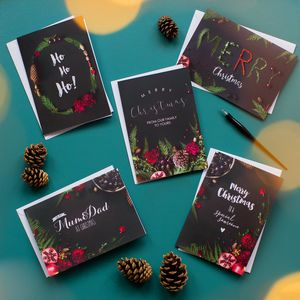 Pack Of Five Ferns And Berries Christmas Cards
