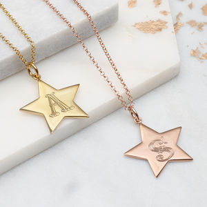 Personalised Large Gold Star Initial Necklace - necklaces & pendants