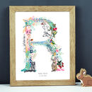 Personalised J To S Pastel Wildlife Letter Print