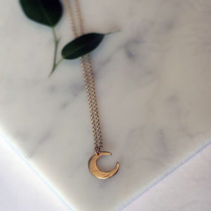 Gold Mini Moon Necklace
