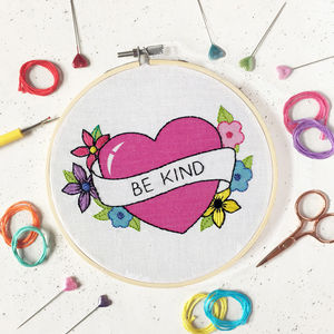 Be Kind Embroidery Craft Kit - new in home
