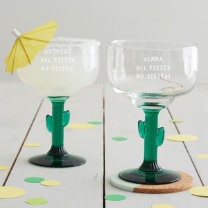 Personalised 'All Fiesta' Cactus Margarita Glass - drink & barware