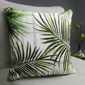 Tropical Fronds Botanical Cushion - bedroom