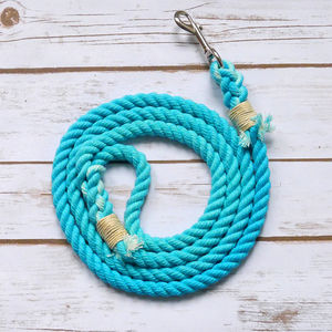 Hand Dyed Rope Dog Lead With Colour Handle