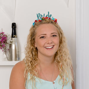'Bride' Hen Party Colourful Floral Crown